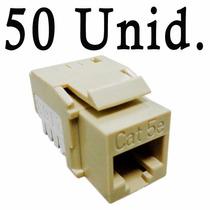 Kit 50pçs Conector Rj45 Femea Keystone Cat5e Bege Hellerman