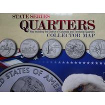 Álbum Mapa States Quarter Dollar - Moedas 0,25 Cents Usa Eua