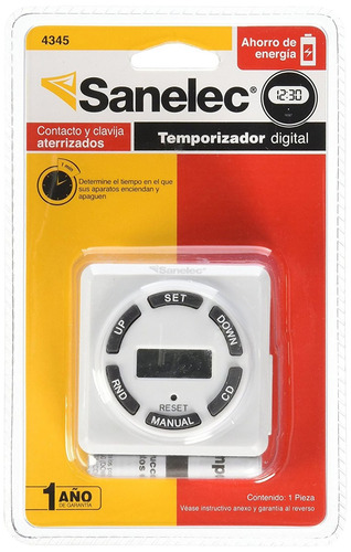 Timer digital para aparatos el ctricos sanelec 4345 for Temporizador digital enchufe