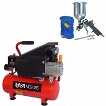 Compressor De Ar 8l 5,6 Pés Com Kit Pintura 220v Br Motors