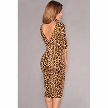 Sexy Mini Vestido Estampado Animal Print Escote En Espalda V