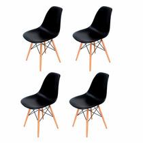 Conjunto 4 Cadeiras Eiffel Eames Dsw Pretas. Frete Grátis!!!