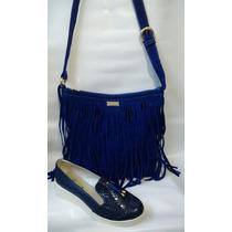 Combo Bolichero Zapato + Bolso Mujer Moda Azul Envío Gratis