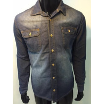 Camisa Masculina Estilo Jeans 2 Bolsos Slim Fit Casual Ref01