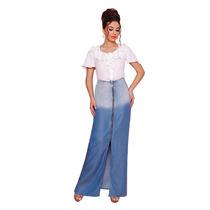Saia Titanium Com Zíper Composição 100% Liocel Jeans Azul