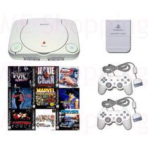 Ps1 Playstation One + 2 Controles + 5 Jogos + Fonte + Av