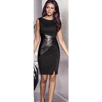 Vestido Negro Con Simil Cuero (010122)