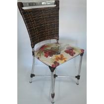 Cadeira Alumínio Trançada Junco Fibra Sintética Com Estofado