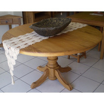 Mesa Redonda Madeira Maciça 1,40m + 5 Cadeiras Estofadas