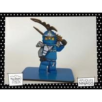 Souvenir Evento Cumple Aplique Madera 10cm Lego Ninjago Azul