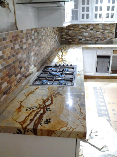 Cocinas integrales mesones muebles granito natural marmol for Cocina marmol o granito
