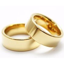 Par De Alianças Retas Aço Inox Baratas Banhado A Ouro 6mm