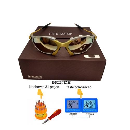 481d511fc24df Oculos Oakley Romeo 1 24k Dourada + Chave+teste+frete 12x - R  120,00 em  Mercado Livre
