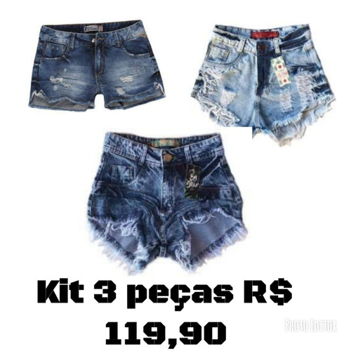 84f95009fc8 Kit 3 Shorts Feminino Oferta Relâmpago Black Friday 40% Off - R  119 ...