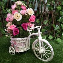 2 Unid. Arranjo Flores Artificiais Bicicleta Provençal Rosa