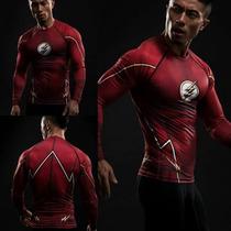Camisetas Compresion Lycra Marvel Flash, Superman, Capitan
