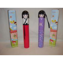 Paraguas Plegable Muñeca Japonesa Chic Mujer De Cartera