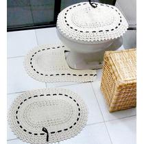 Conjunto Jogo De Banheiro Em Crochê Barbante Fita Preta