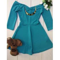 Vestido Ombro Caído Verde Lançamento Verão Moda Blogueira