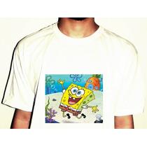 Camiseta Bob Esponja Mar Desenho Animado Algodão Pronta Ent