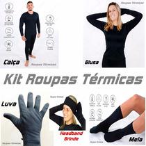 Kit Roupas Térmicas 1 Blusa, 1 Calça, 1 Luva, 1 Meia