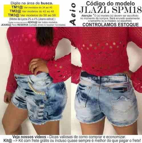 3b905d1aa6 Short Jeans Roupas Femininas Lycra Rasgo Pedras Unli  Shpm49 - R  31 ...