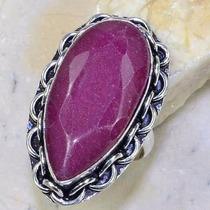 Anel Feminino De Prata Pedra Grande Rubi Natural Aro 20