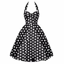 Vestido Vintage Pin Up Negro Con Blanco