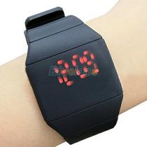 Lindo Relógio Digital Led Vermelho Silicone