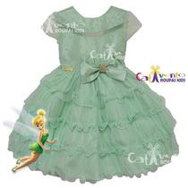 Vestido De Festa Fada Tinker Bell Sininho Infantil E Tiara