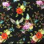 Flores y Pájaros Negro (Polilycra)
