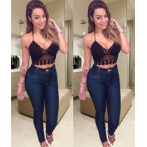 Calça Jeans Cintura Alta Hot Pants Anitta Juju Panicat Cos