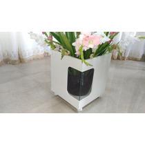 Cachepot Mdf Vaso Com Rodinhas Com Vidro Transparente
