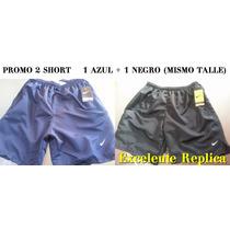 Promo 2 Pantalon Short Maya Microfibra Natacion Azul Y Negro