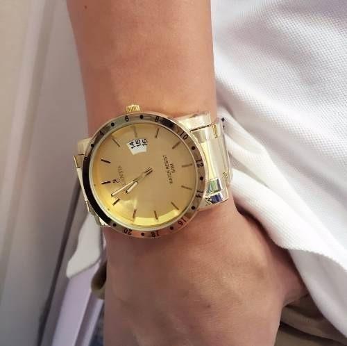 3f6098118b6 Relógio Masculino Dourado Grande Luxo Aço Original Atlantis - R  124 ...