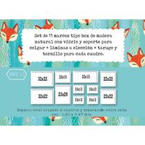 Set 11 Cuadros/ Marcos Box De Madera Natural + Lámina