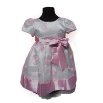 Vestido Fiesta Nena Beba Blanco A Lunares Rosa Mangas Cortas