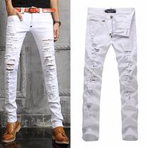 Calça Jeans Sarja Branca Rasgada Skinny Slim Masculina Mod8