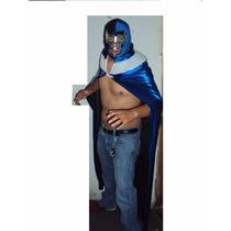 Traje Capa Y Mascara De Luchador Blue Demon Adulto Lucha Lib