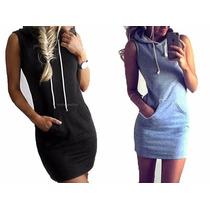 Pack X2 Vestido Hoodie Vestido C/ Capucha Entallado Mujer