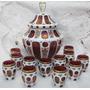 Boleira Poncheira Cristal Overlay Moser 12 Copos Com Flores