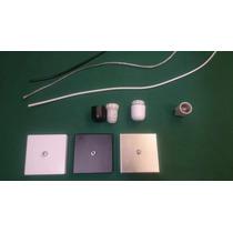Kit 5 Canoplas Alumínio Quadrada + Soquete E27 + Cabo Pp