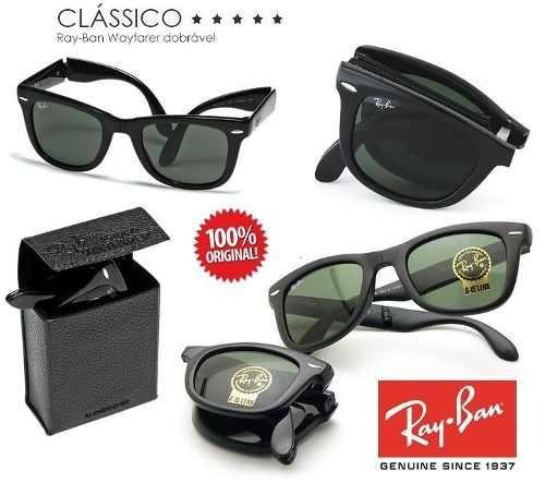 ddfc8ee19 Oculos De Sol Ray Ban Wayfarer Folding Dobravel Rb4105 Preto - R$ 172,90 em  Mercado Livre