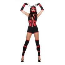Disfraz Ninja Dragon Rojo Adulto Mujer Halloween Sexy
