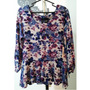 Blusa Floral Mujer L New Direction, Plomos Grises Azul Lila