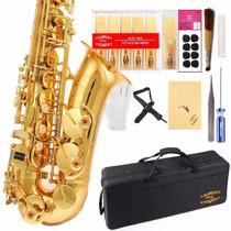 Saxofon Glory Alto Lacarado En Oro Accesorios Profesional