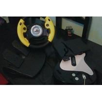Playstation 2+ 2 Guitarras + Volante Con Pedal + Memoria