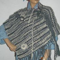 Capa Ruana Poncho Dama Mujer Tejido En Telar Calidad Moda