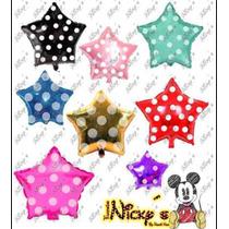 Paquete De Globos Silueta De Mickey Y Estrellas Polka Dots