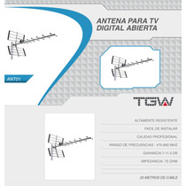 Antena Tda Exterior Tv Digital Hd 20 Mts. Cable Rg6 Tgw